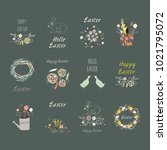 set elements with cute flowers  ... | Shutterstock . vector #1021795072