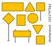 blank traffic road sign set ... | Shutterstock .eps vector #1021797562