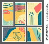 set of creative universal... | Shutterstock .eps vector #1021802182