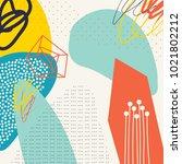 creative doodle art header with ... | Shutterstock .eps vector #1021802212