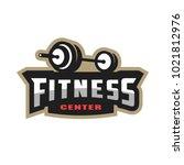 fitness center sport logo.   Shutterstock .eps vector #1021812976