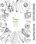 vegetables top view frame.... | Shutterstock .eps vector #1021813666