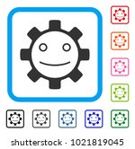 gear smile smiley icon. flat...