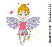 cute fairy with magic wand... | Shutterstock .eps vector #1021822312