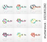cube idea concept logo  line... | Shutterstock .eps vector #1021831282