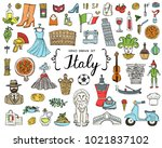 vector set with hand drawn... | Shutterstock .eps vector #1021837102