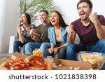 group of friends sport fans... | Shutterstock . vector #1021838398