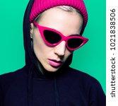 model in fashion sunglasses and ... | Shutterstock . vector #1021838506
