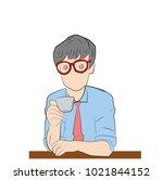 man businessman drinking coffee.... | Shutterstock .eps vector #1021844152