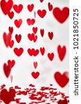 valentine's day red hearts on... | Shutterstock . vector #1021850725