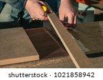 roll of oak veneer   Shutterstock . vector #1021858942