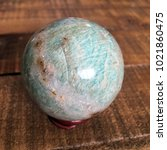 amazonite crystal sphere | Shutterstock . vector #1021860475