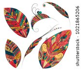 set of ethnic feathers. tribal... | Shutterstock .eps vector #1021865206