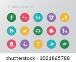 set of 15 editable kin icons.... | Shutterstock .eps vector #1021865788