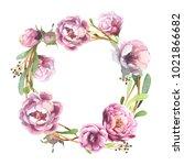 watercolor romantic wreath of... | Shutterstock . vector #1021866682