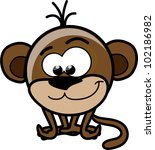 cartoon cute monkey  vector | Shutterstock .eps vector #102186982