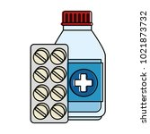 medicine bottle with pills | Shutterstock .eps vector #1021873732