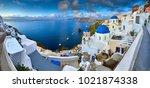 fira town on santorini island ... | Shutterstock . vector #1021874338