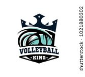 king vooleball ball logo | Shutterstock .eps vector #1021880302