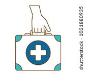hand with medical kit | Shutterstock .eps vector #1021880935