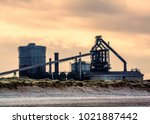 redcar steel works   cold and... | Shutterstock . vector #1021887442