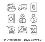 set of money bag  woman read... | Shutterstock .eps vector #1021889962
