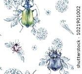 seamless pattern flying beetles ... | Shutterstock . vector #1021901002