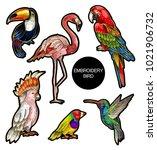 tropical birds embroidery... | Shutterstock .eps vector #1021906732