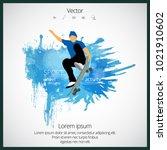 skateboarder jump  sport... | Shutterstock .eps vector #1021910602