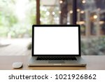 laptop with blank screen and... | Shutterstock . vector #1021926862