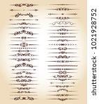 set ornamental rule lines in... | Shutterstock .eps vector #1021928752