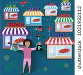 business finance concept happy...   Shutterstock .eps vector #1021932112