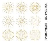 golden vintage sunburst design... | Shutterstock .eps vector #1021932256