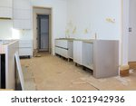 custom kitchen cabinets in... | Shutterstock . vector #1021942936