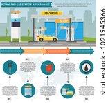 gas filling station vector flat ... | Shutterstock .eps vector #1021945366