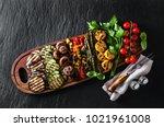 healthy summer food. a wide... | Shutterstock . vector #1021961008