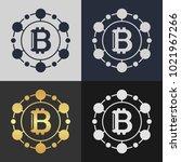 set of bitcoin symbol templates.... | Shutterstock .eps vector #1021967266