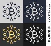 set of bitcoin symbol templates.... | Shutterstock .eps vector #1021967272