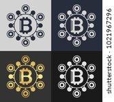 set of bitcoin symbol templates.... | Shutterstock .eps vector #1021967296