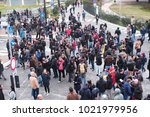 the crowd of the people arrived ... | Shutterstock . vector #1021979956