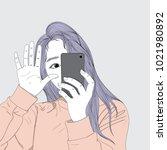 purple hair woman holding a... | Shutterstock .eps vector #1021980892