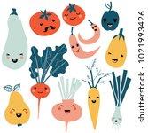 cute cartoon smiley fruit and... | Shutterstock .eps vector #1021993426