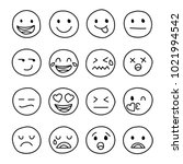 set of emoticon hand drawn... | Shutterstock .eps vector #1021994542