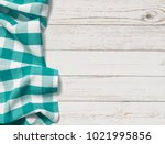 table with cyan picnic cloth... | Shutterstock . vector #1021995856