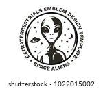 the figure of an alien on the... | Shutterstock .eps vector #1022015002