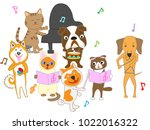 dog and cat concert. dogs and... | Shutterstock .eps vector #1022016322