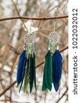 earrings of dream catcher with... | Shutterstock . vector #1022032012