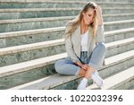 beautiful young caucasian woman ... | Shutterstock . vector #1022032396