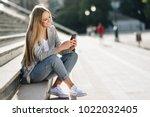 beautiful young caucasian woman ...   Shutterstock . vector #1022032405
