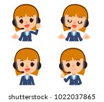 vector female operator ... | Shutterstock .eps vector #1022037865